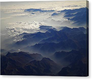 Flying Over The Alps In Europe Canvas Print by Colette V Hera  Guggenheim