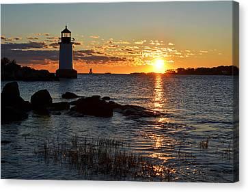 Fort Pickering Lighthouse Winter Island Salem Ma Sunrise Canvas Print by Toby McGuire