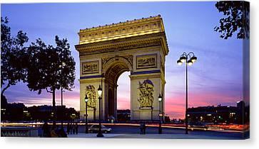 France, Paris, Arc De Triomphe, Night Canvas Print by Panoramic Images