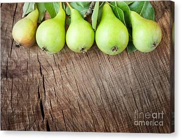 Freshly Harvested Pears Canvas Print by Mythja  Photography