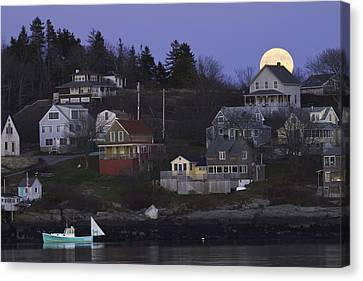 Full Moon Over Georgetown Island Maine Canvas Print by Keith Webber Jr