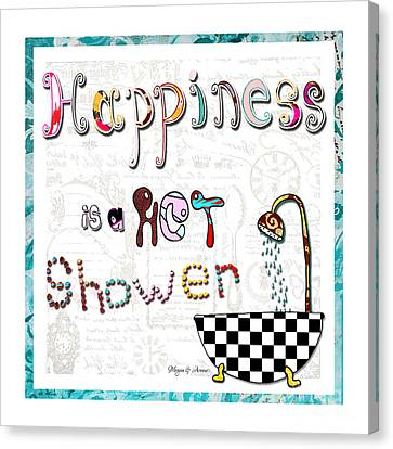 Fun Whimsical Inspirational Word Art Happiness Quote By Megan And Aroon Canvas Print by Megan Duncanson