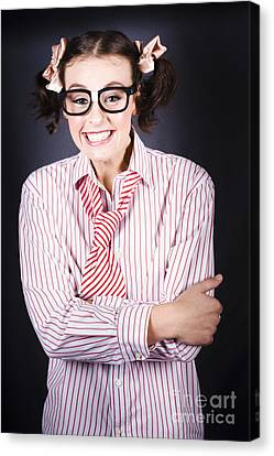 Funny Female Business Nerd With Big Geeky Smile Canvas Print by Jorgo Photography - Wall Art Gallery