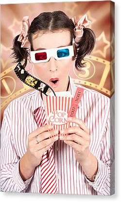 Funny Girl Watching 3d Movie At Cinema Canvas Print by Jorgo Photography - Wall Art Gallery