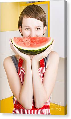 Funny Woman With Juicy Fruit Smile Canvas Print by Jorgo Photography - Wall Art Gallery