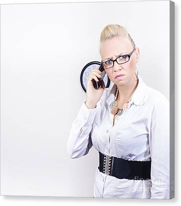 Furious Office Worker Holding Mobile Phone Canvas Print by Jorgo Photography - Wall Art Gallery
