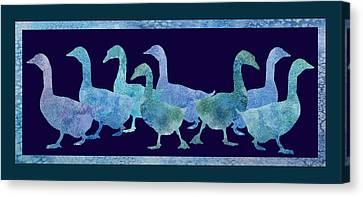 Geese Batik Canvas Print by Jenny Armitage