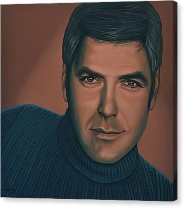 George Clooney Painting Canvas Print by Paul Meijering