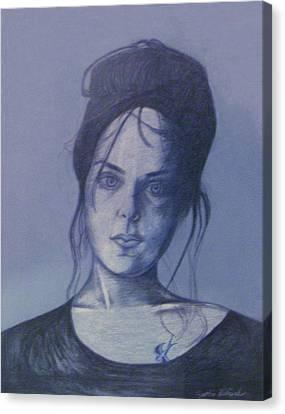 Girl With Tattoo Canvas Print by Cynthia Hilliard