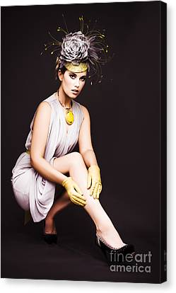 Glamorous Woman In Racecourse Fashion Canvas Print by Jorgo Photography - Wall Art Gallery