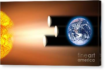 Global Warming Sun Shields, Artwork Canvas Print by Victor de Schwanberg
