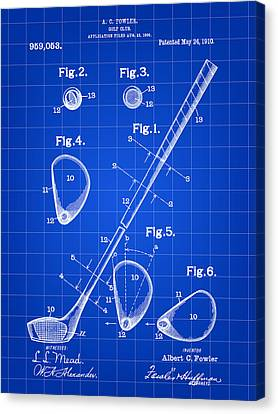 Golf Club Patent 1909 - Blue Canvas Print by Stephen Younts