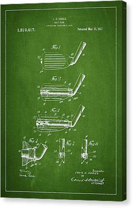 Golf Club Patent Drawing From 1917 Canvas Print by Aged Pixel