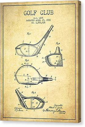 Golf Club Patent Drawing From 1926 - Vintage Canvas Print by Aged Pixel