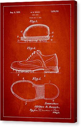 Golf Shoe Patent Drawing From 1931 Canvas Print by Aged Pixel