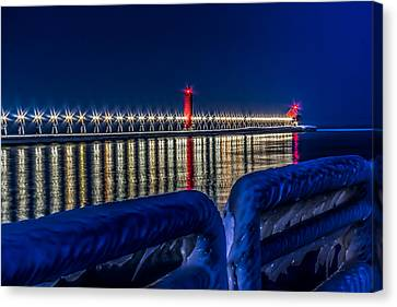 Grand Haven Lighthouse Blue Minute Canvas Print by Joe Holley