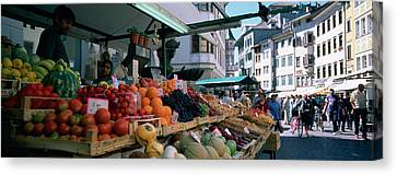 Group Of People In A Street Market Canvas Print by Panoramic Images