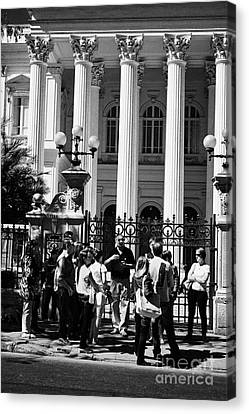 guided tour group outside the former national congress building Santiago Chile Canvas Print by Joe Fox