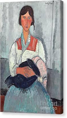 Gypsy Woman With Baby Canvas Print by Amedeo Modigliani