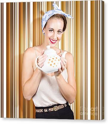 Happy Cafe Waitress Holding Hot Coffee Kettle Canvas Print by Jorgo Photography - Wall Art Gallery