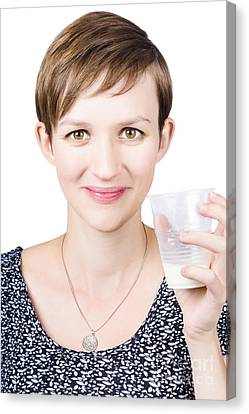 Happy Healthy Woman With Fresh Milk Canvas Print by Jorgo Photography - Wall Art Gallery