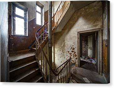 Haunted Staircase Urban Exploration Canvas Print by Dirk Ercken