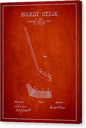 Hockey Stick Patent Drawing From 1901 Canvas Print by Aged Pixel