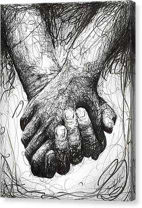 Holding Hands Canvas Print by Michael  Volpicelli