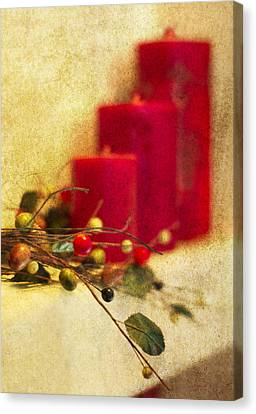 Holiday Candles Canvas Print by Rebecca Cozart