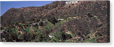 Hollywood Sign On A Hill, Hollywood Canvas Print by Panoramic Images