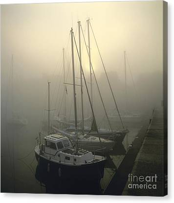 Honfleur Harbour In Fog. Calvados. Normandy. France. Europe Canvas Print by Bernard Jaubert