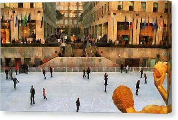 Ice Skating In New York City Canvas Print by Dan Sproul