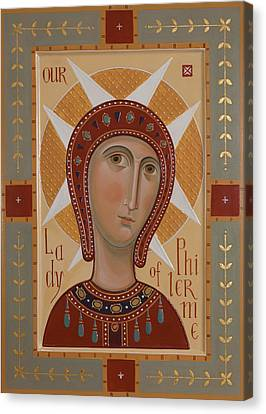 Icon Of Our Lady Of Philermo Canvas Print by Olga  Shalamova