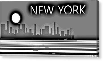 Impression New York And The Magic Moon Canvas Print by Sir Josef Social Critic - ART