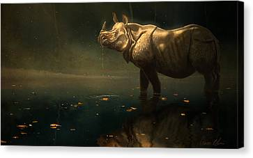 Indian Rhino Canvas Print by Aaron Blaise
