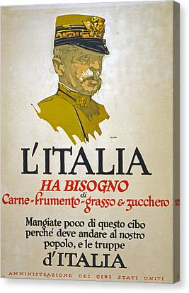 Italy Has Need Of Meat Wheat Fat And Sugar Canvas Print by George Illian