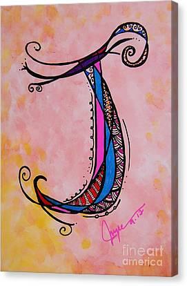 'j' Monogram Canvas Print by Joyce Auteri