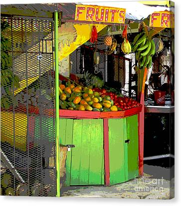 Jamaican Fruit Stand Canvas Print by Ann Powell
