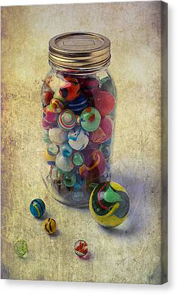 Jar Of Marbles Canvas Print by Garry Gay