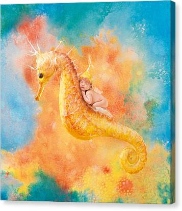 Jessabella Riding A Seahorse Canvas Print by Anne Geddes