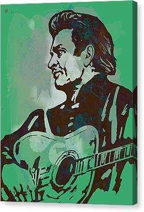 Johnny Cash - Stylised Etching Pop Art Poster Canvas Print by Kim Wang