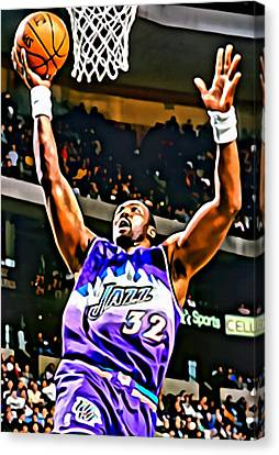Karl Malone Canvas Print by Florian Rodarte
