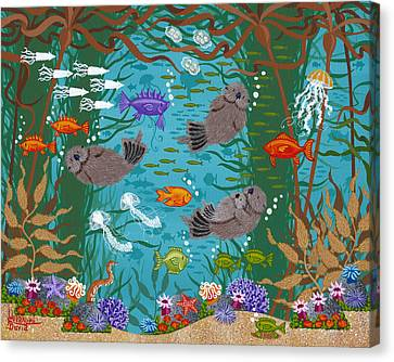 Kelp Forest Otters Viii Canvas Print by Merry  Kohn Buvia