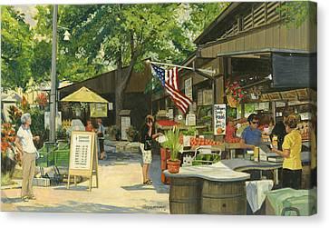 Kirkwood Farmers Market American Flag Canvas Print by Don  Langeneckert
