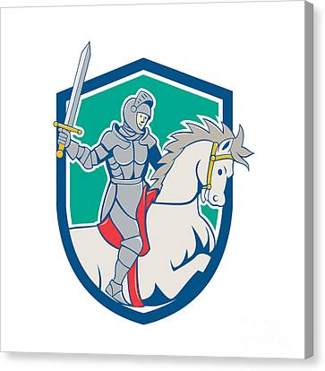Knight Riding Horse Sword Cartoon Canvas Print by Aloysius Patrimonio