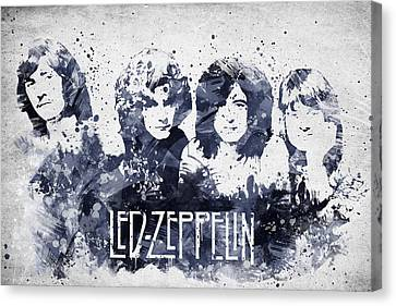 Led Zeppelin Portrait Canvas Print by Aged Pixel