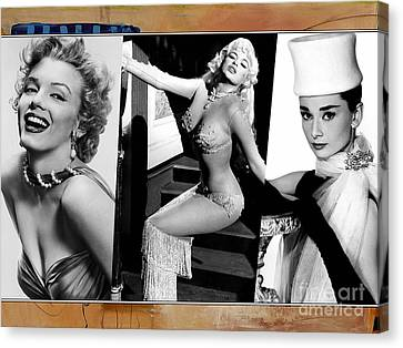 Legends Marilyn Monroe Jane Mansfield And Audrey Hepburn Canvas Print by Marvin Blaine