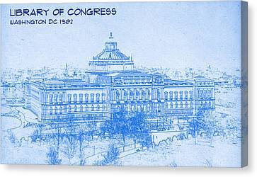 Library Of Congress Washington Dc 1902 Blueprint Canvas Print by MotionAge Designs