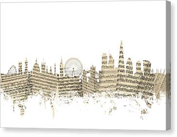 London England Skyline Sheet Music Cityscape Canvas Print by Michael Tompsett