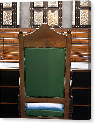 Looking Into Courtroom From Behind Judges Chair Canvas Print by Ken Biggs